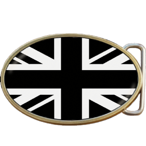 Union Jack Flag Black and White Belt Buckle. Code A0092